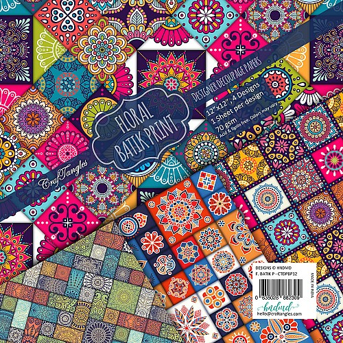 CrafTangles Decoupage Paper Pack  - Floral Batik Print (12 by 12 inch) - 4 sheets