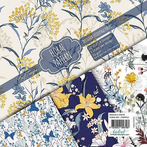 CrafTangles Decoupage Paper Pack  - Floral Pattern (12 by 12 inch) - 4 sheets