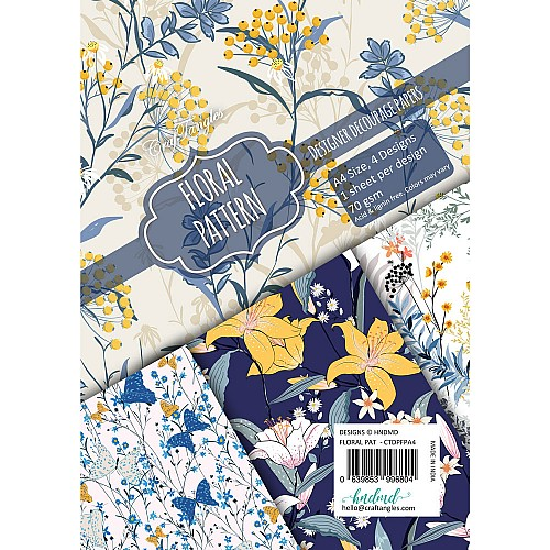 CrafTangles Decoupage Paper Pack  - Floral Pattern (A4) - 4 sheets