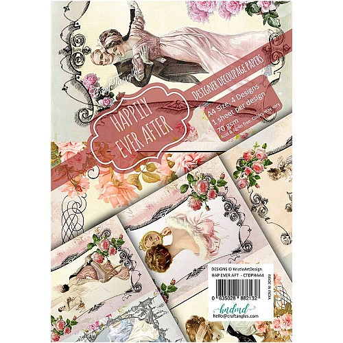 CrafTangles Decoupage Paper Pack  - Happily Ever After (A4) - 4 sheets