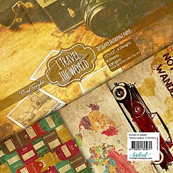 CrafTangles Decoupage Paper Pack  - I Travel the World (12 by 12 inch) - 8 sheets
