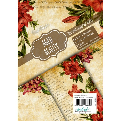 CrafTangles Decoupage Paper Pack  - Aged Beauty (A4) - 4 sheets