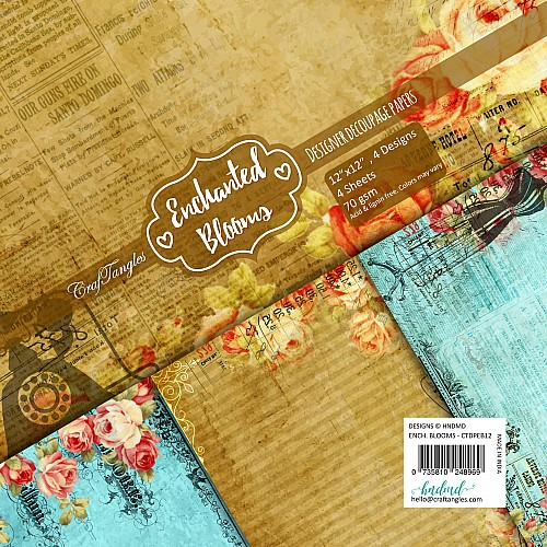 CrafTangles Decoupage Paper Pack  - Enchanted Blooms (12 by 12 inch) - 4 sheets
