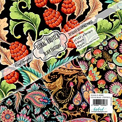 CrafTangles Decoupage Paper Pack  - Floral Exotica Black Edition (12 by 12 inch) - 4 sheets