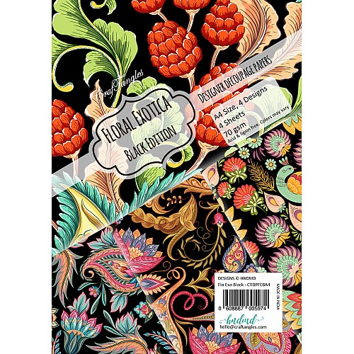 CrafTangles Decoupage Paper Pack  - Floral Exotica Black Edition (A4) - 4 sheets