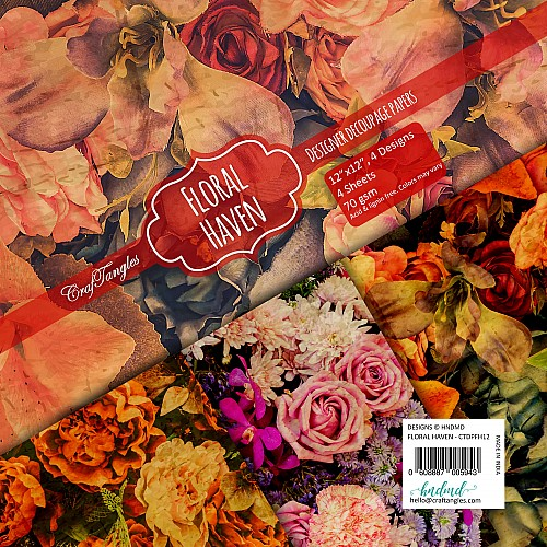 CrafTangles Decoupage Paper Pack  - Floral Haven (12 by 12 inch) - 4 sheets