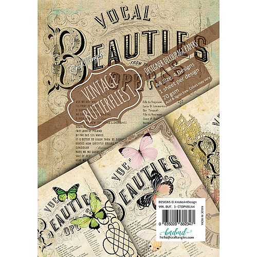 CrafTangles Decoupage Paper Pack  - Vintage Butterflies 1 (A4) - 4 sheets