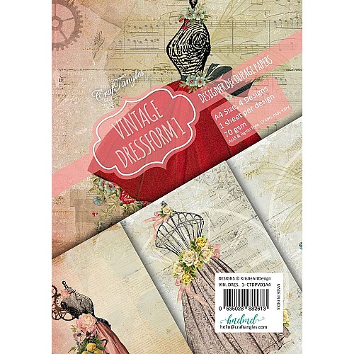 CrafTangles Decoupage Paper Pack  - Vintage Dressforms 1 (A4) - 4 sheets