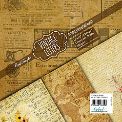 CrafTangles Decoupage Paper Pack  - Vintage Letters (12 by 12 inch) - 4 sheets