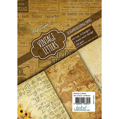CrafTangles Decoupage Paper Pack  - Vintage Letters (A4) - 4 sheets