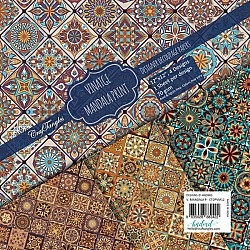 CrafTangles Decoupage Paper Pack  - Vintage Mandala Print (12 by 12 inch) - 4 sheets