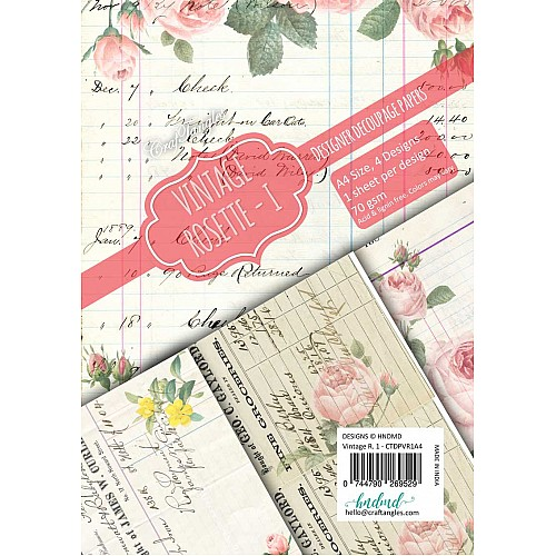 CrafTangles Decoupage Paper Pack  - Vintage Rosette 1 (A4) - 4 sheets