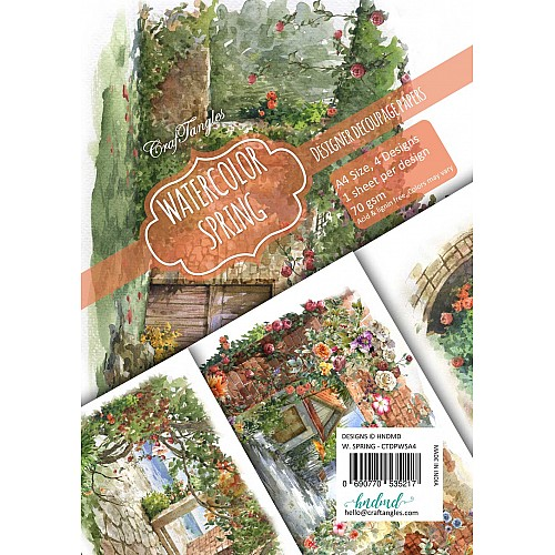 CrafTangles Decoupage Paper Pack  - Watercolour Springs (A4) - 4 sheets