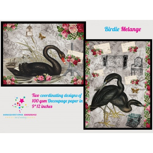 Nakshathra Designz Decoupage paper - Birdie Melange
