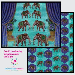 Nakshathra Designz Decoupage paper - Traditional Elephants