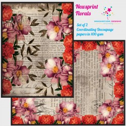Nakshathra Designz Decoupage paper - Newsprint Florals