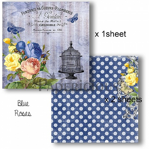 Papericious Decoupage Paper Pack  - Blue Roses (8 by 8 inch) - 3 sheets