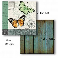 Papericious Decoupage Paper Pack  - Butterflies (8 by 8 inch) - 3 sheets