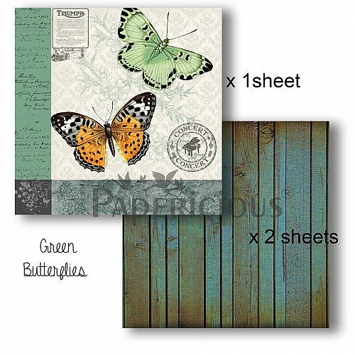 Papericious Decoupage Paper Pack  - Butterflies (6 by 6 inch) - 3 sheets
