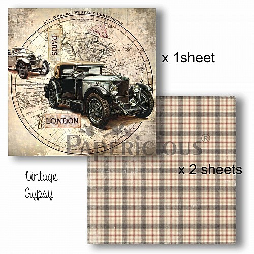 Papericious Decoupage Paper Pack  - Gypsy (6 by 6 inch) - 3 sheets