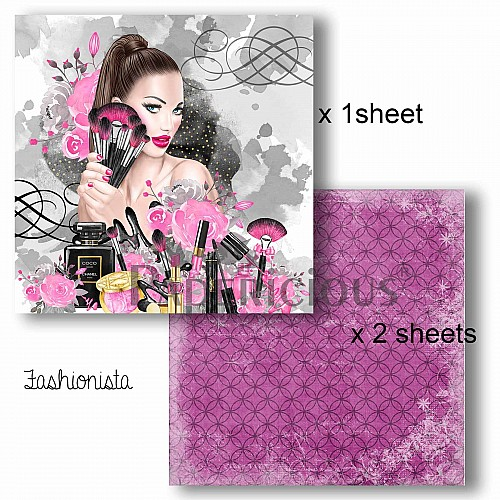 Papericious Decoupage Paper Pack  - Fashionista (8 by 8 inch) - 3 sheets