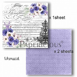 Papericious Decoupage Paper Pack  - Whimsical (6 by 6 inch) - 3 sheets