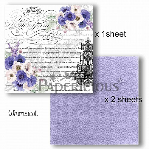 Papericious Decoupage Paper Pack  - Whimsical (8 by 8 inch) - 3 sheets