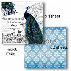Papericious Decoupage Paper Pack  - Peacock (8 by 8 inch) - 3 sheets