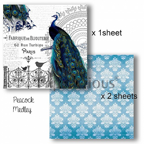 Papericious Decoupage Paper Pack  - Peacock (6 by 6 inch) - 3 sheets