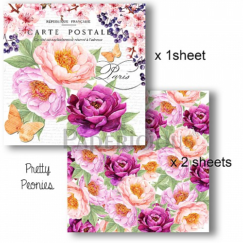 Papericious Decoupage Paper Pack  - Pretty Peonies (6 by 6 inch) - 3 sheets