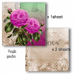 Papericious Decoupage Paper Pack  - Purple Garden (8 by 8 inch) - 3 sheets