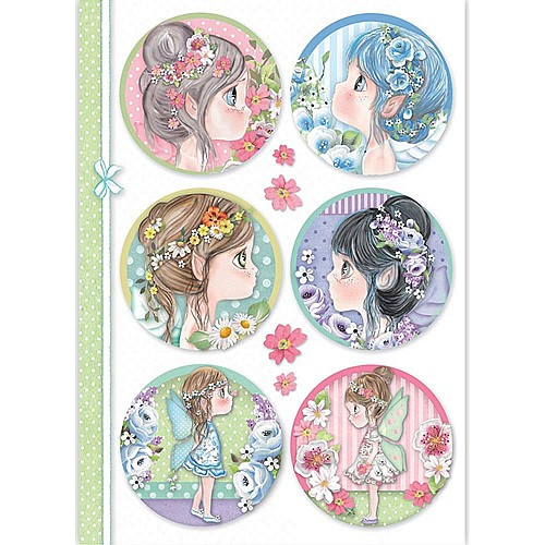 Stamperia Rice Paper A4 -  Fairy Faces In Sphere