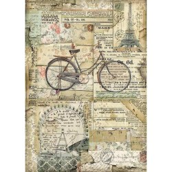 Stamperia Rice Paper A4 - Bicycle
