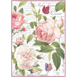 Stamperia Rice Paper A4 - Vintage Rose