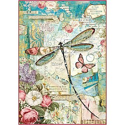 Stamperia Rice Paper A4 - Wonderland Dragonfly
