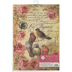 Stamperia Rice Paper A4 - Le Figaro Birds