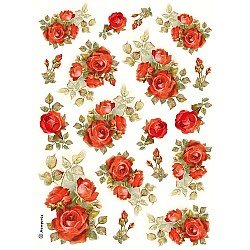 Stamperia Rice Paper Pack A4 - Red Roses