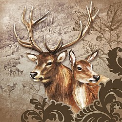 A pack of 12 by 12 inch German Decoupage Napkins ( 5 pcs ) - Deer Couple Brown