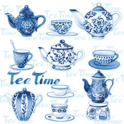 German Decoupage Napkins (5 pcs)  - Tea Moments Blue Background