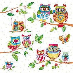 German Decoupage Napkins (5 pcs)  - Owls in Summerland