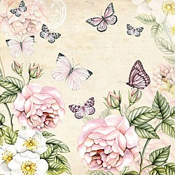 German Decoupage Napkins (5 pcs)  - Flowers and Butterflies Cream