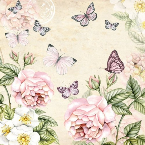 German Decoupage Napkins (5 pcs)  - Flowers and Butterflies Cream