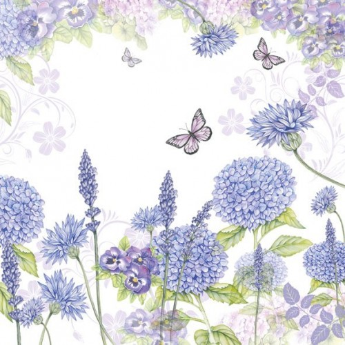 German Decoupage Napkins (5 pcs)  - Purple Wild Flowers