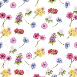 A pack of 12 by 12 inch German Decoupage Napkins (5 pcs)  - Flower Festival