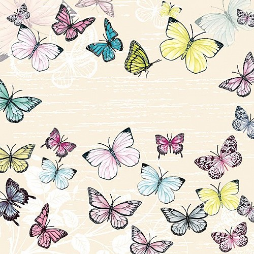 A pack of 12 by 12 inch German Decoupage Napkins (5 pcs)  - Butterfly with Cream Background