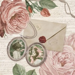 A pack of 12 by 12 inch German Decoupage Napkins (5 pcs)  - Photo Medallion