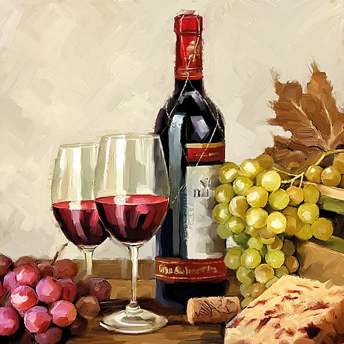 A pack of 12 by 12 inch German Decoupage Napkins (5 pcs)  - Wine and Grapes