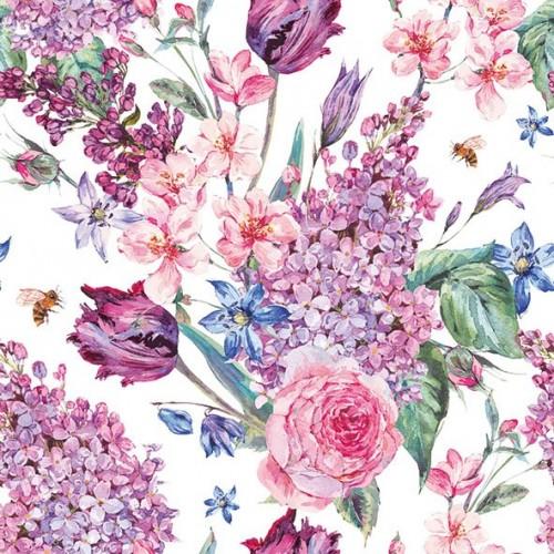 German Decoupage Napkins (5 pcs)  - Flower Composition White