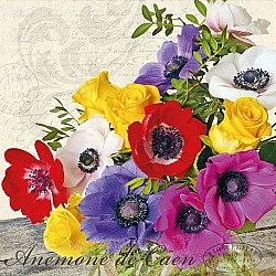 A pack of 12 by 12 inch German Decoupage Napkins (5 pcs)  - Anemone De Caen