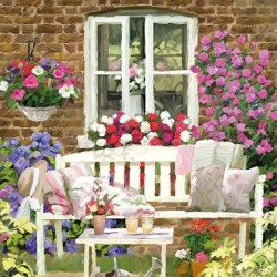 German Decoupage Napkins (5 pcs)  - Garden Bench